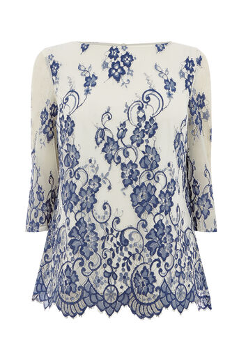 Oasis, LACE FLUTE SLEEVE TOP Multi Blue 0