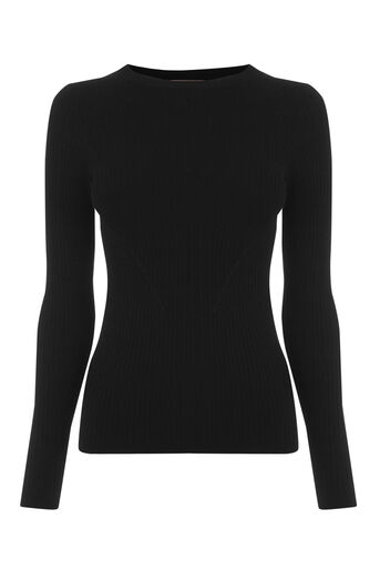 Oasis, LONG-SLEEVED RIB TOP Black 0
