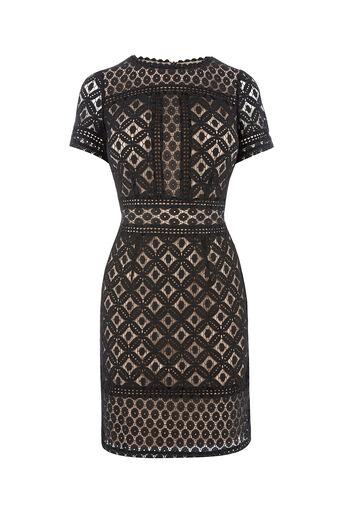 Oasis, ISLA LACE SHIFT DRESS Black 0