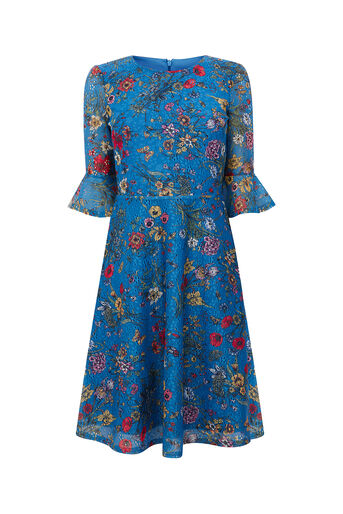 Oasis, LONG AZELIA PRINTED DRESS Multi Blue 0