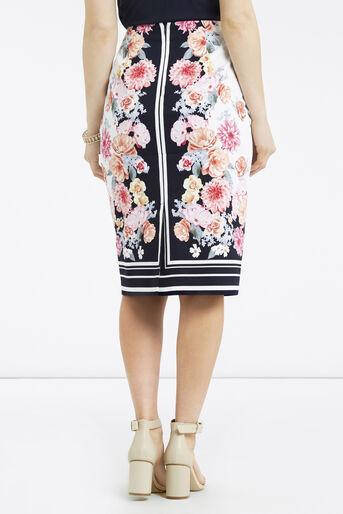 Oasis, Petite Scarf Floral Skirt Multi Blue 3