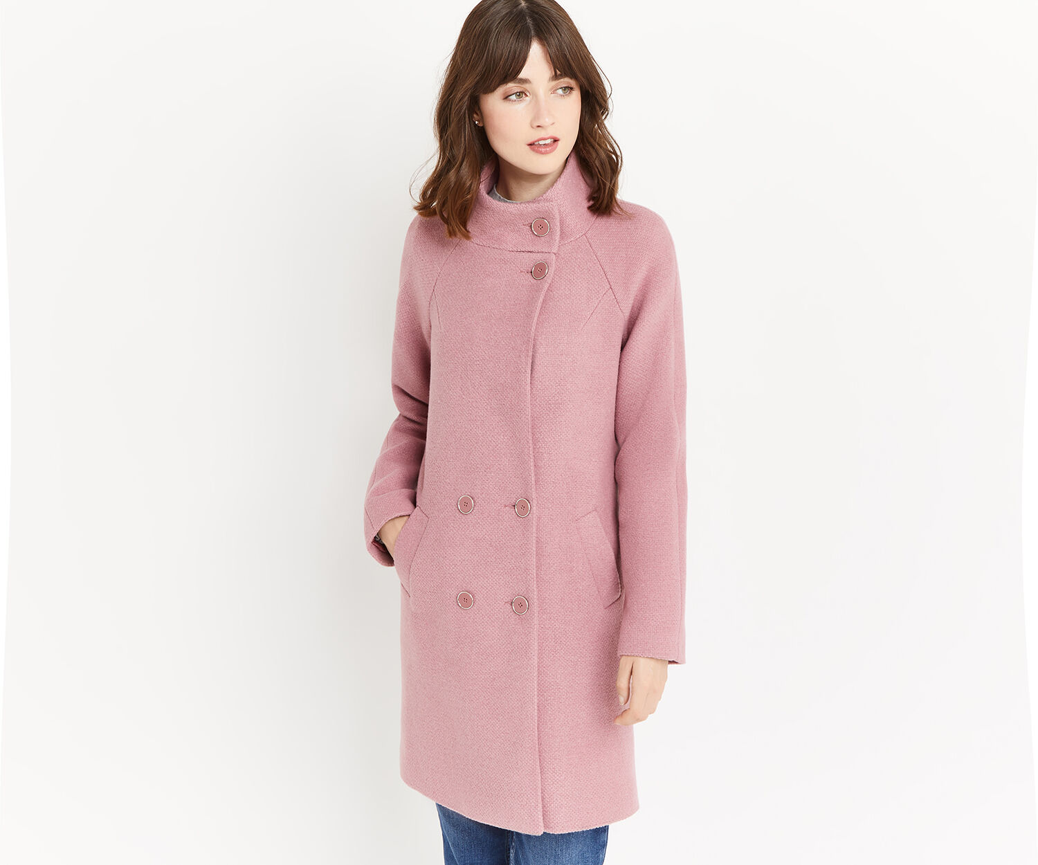 Oasis, FLORENCE DOUBLE BREASTED COAT Mid Pink 1
