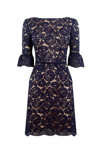 Oasis, LACE BELL SLEEVE SHIFT Navy 0