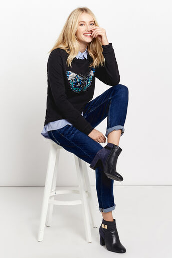 Oasis, EMBROIDERED BUTTERFLY SWEAT Black 2