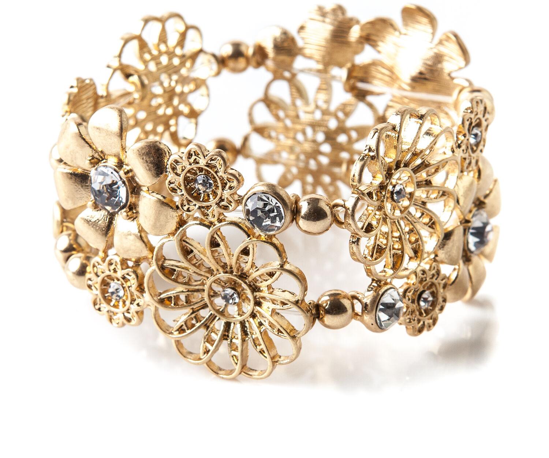Oasis, FLOWER STRETCH BRACELET Gold 1