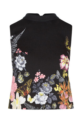 Oasis, Petite Botanical Jacquard Top Multi Black 0