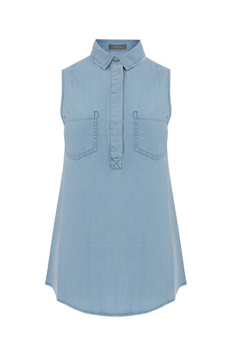 Oasis, LUCY SLEEVELESS SHIRT Light Wash 0