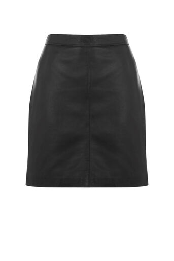 Oasis, LEATHER ZIP MINI SKIRT Black 0