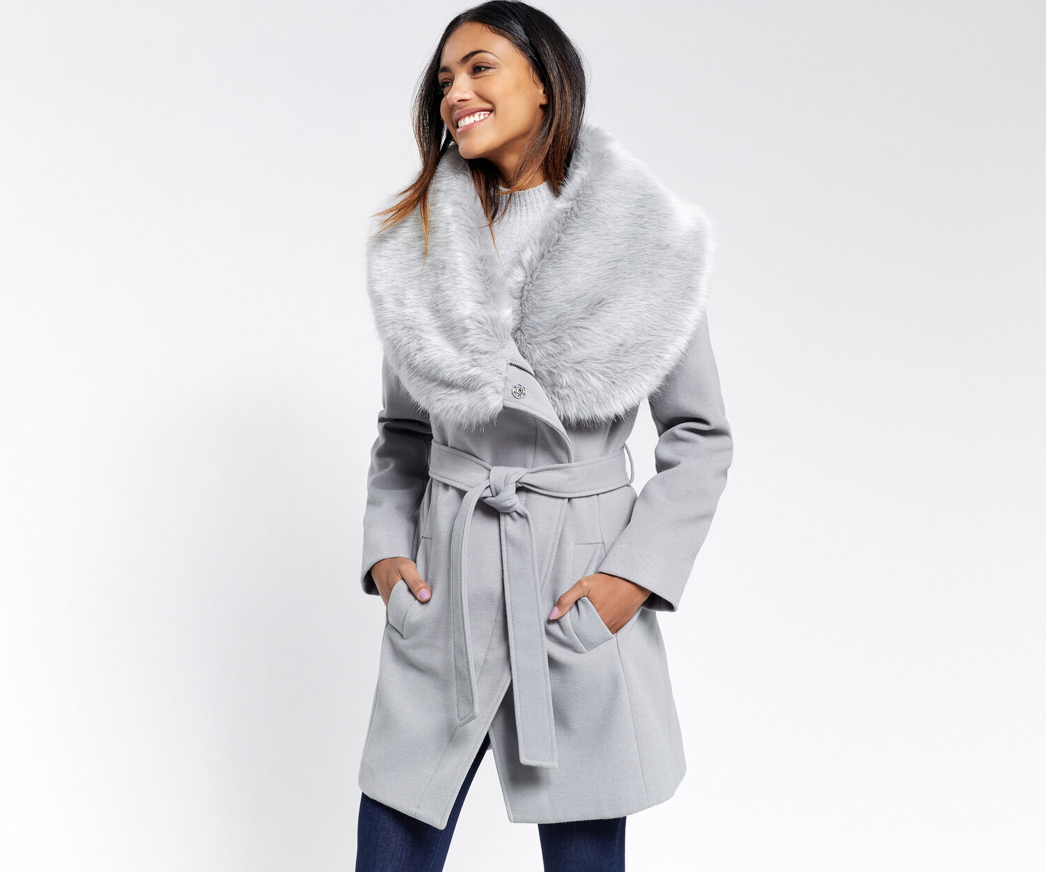 Oasis, FAUX FUR COLLAR COAT Mid Grey 1