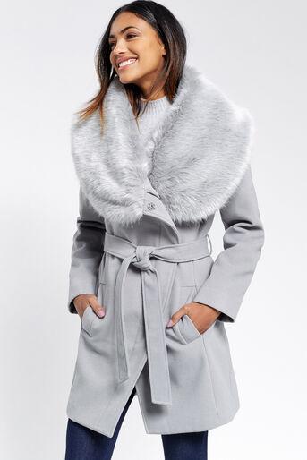 Oasis, Manteau avec col en fausse fourrure Gris moyen 1