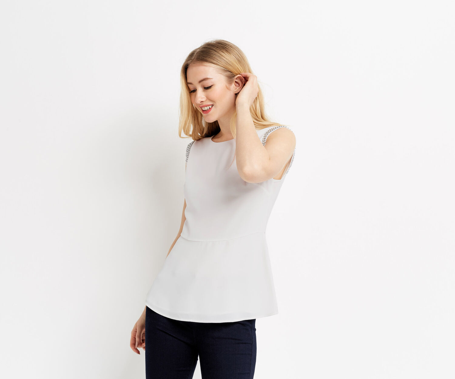 Oasis, EMBELLISHED PEPLUM TOP Off White 1