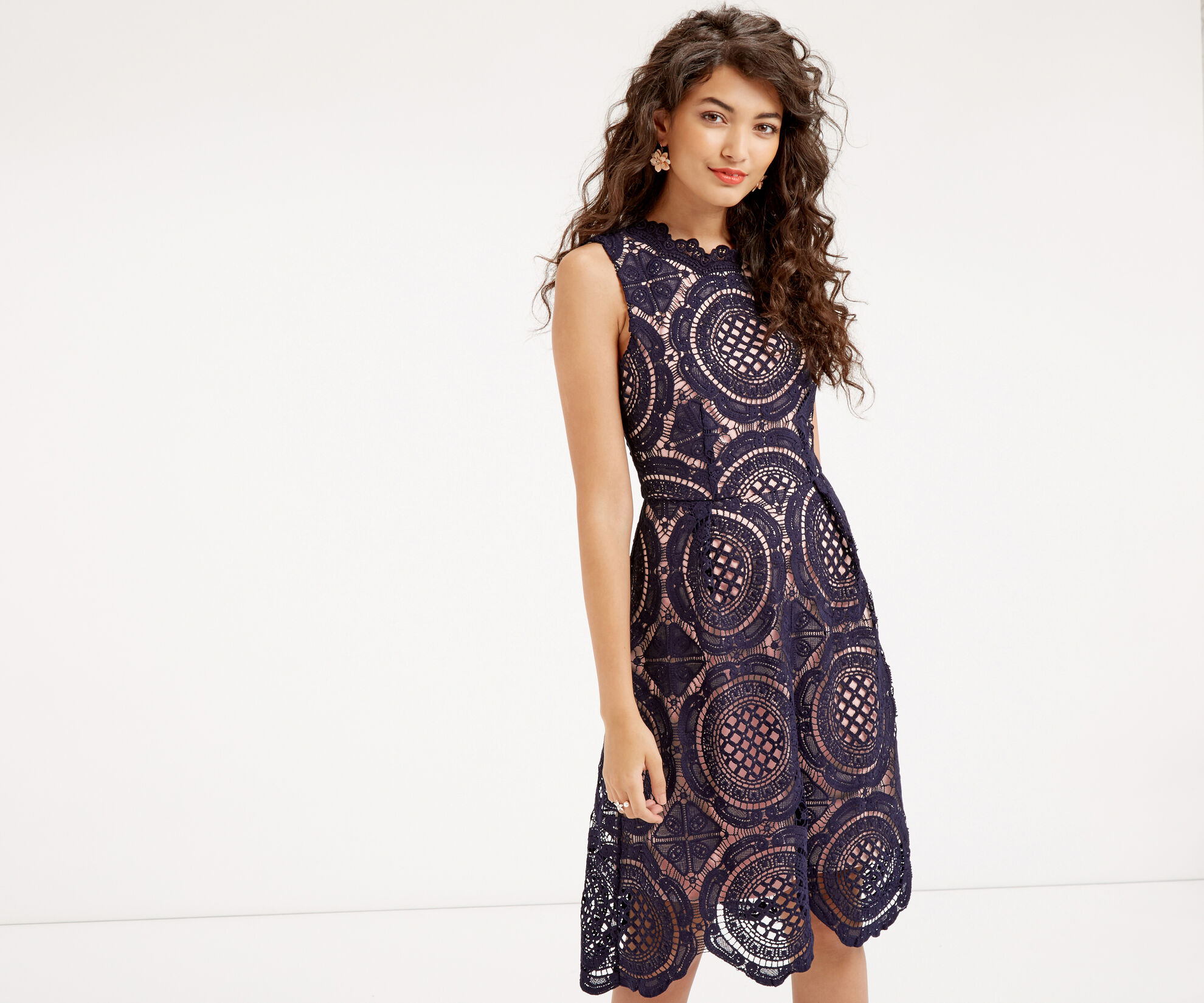 Oasis, LACE DRESS Navy 1
