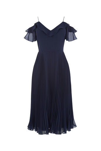 Oasis, COLD SHOULDER MIDI DRESS Navy 0