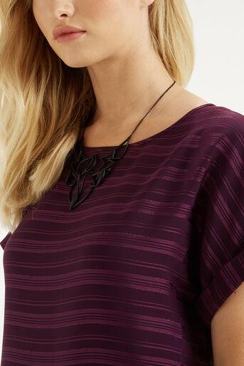 Oasis, Self Stripe Roll Sleeve T-Shir Mid Purple 4