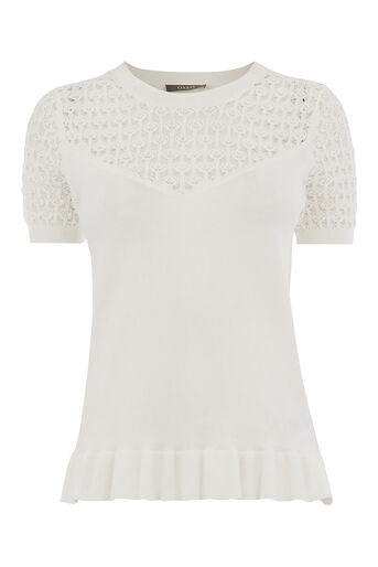Oasis, SWEETHEART PEPLUM TOP Off White 0