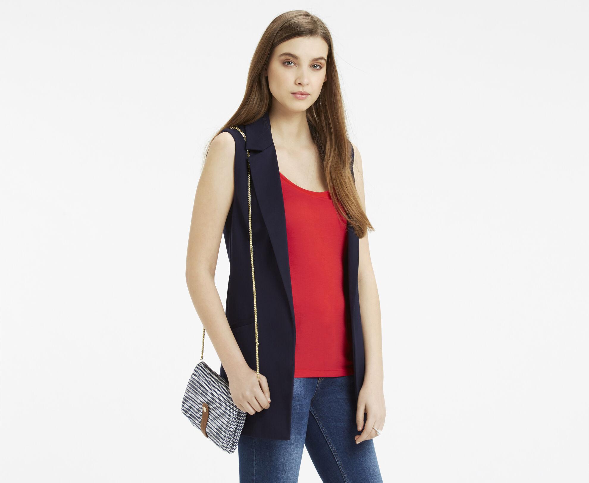 Oasis, Chevron Chain Clutch Bag Multi Blue 1