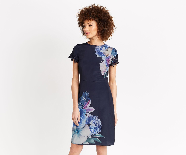 Oasis, LONG WILD FLORAL DRESS Ochre 1
