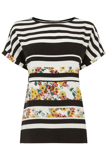Oasis, STRIPE DITSY TEE Multi Natural 0