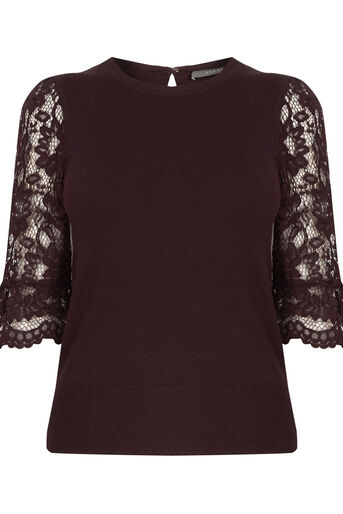 Oasis, Lace fluted sleeve top Burgundy 0