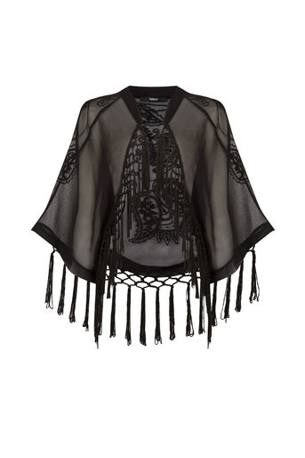 Oasis, Sequin Suki Kimono Black 0