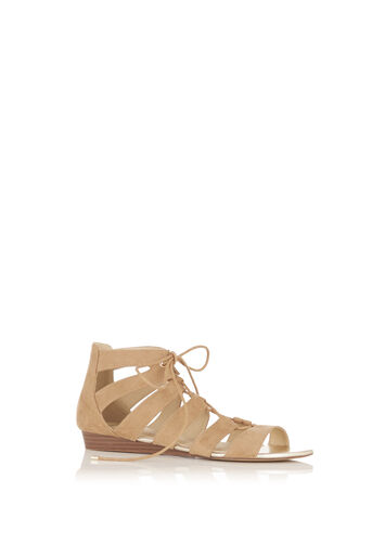 Oasis, Winona Lace Up Ghillie Wedge S Stone 0
