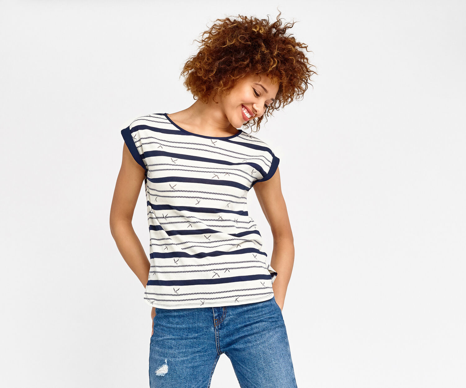 Oasis, BIRD WIGGLE STRIPE Navy 1