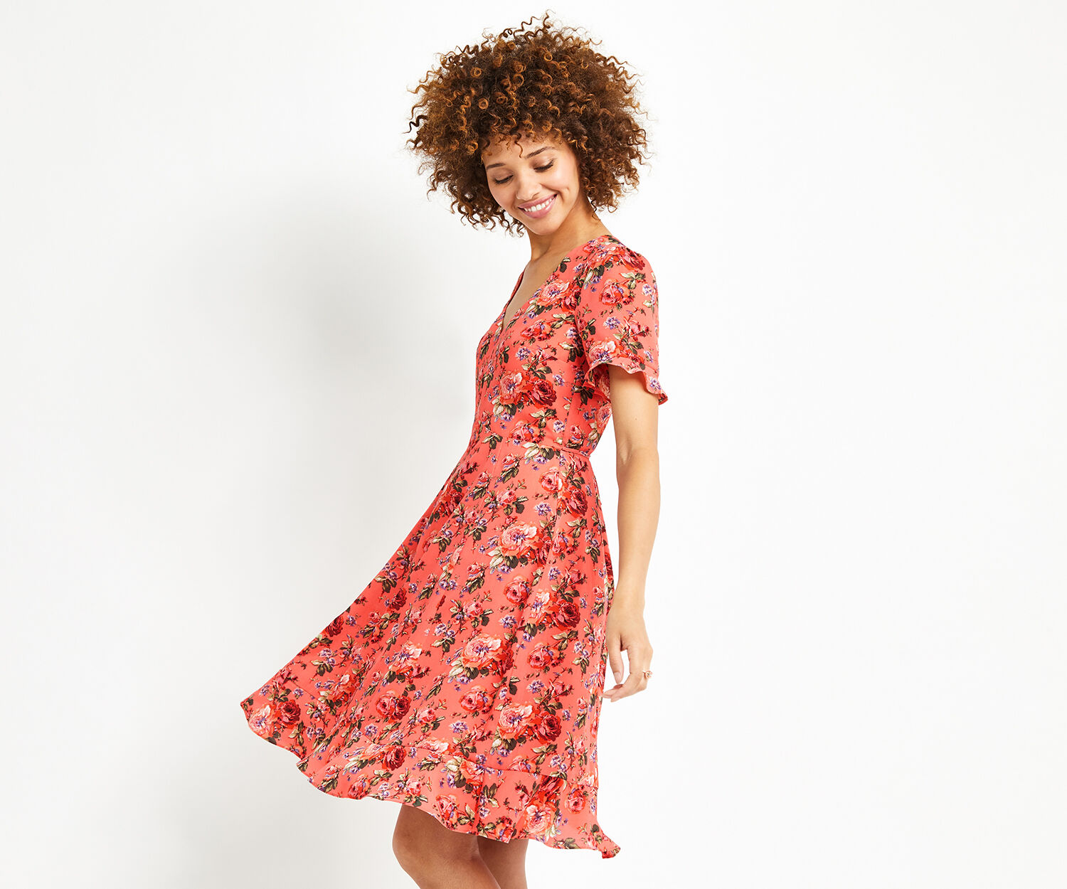Oasis, LONG UTILITY ROSE TEA DRESS Multi Red 1
