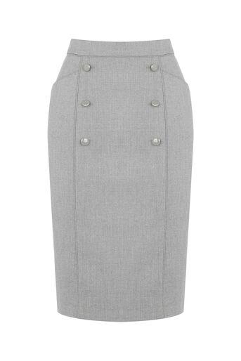 Oasis, Petite Workwear Skirt Pale Grey 0