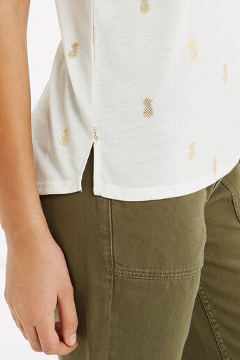 Oasis, Pineapple Foil T-Shirt White 4