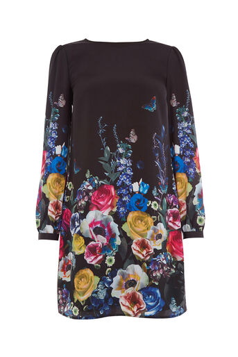 Oasis, FLORAL AND FAUNA SHIFT DRESS Multi Black 0