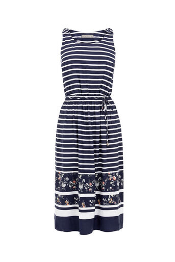 Oasis, STRIPE AND BLOOM MIDI DRESS Multi Blue 0