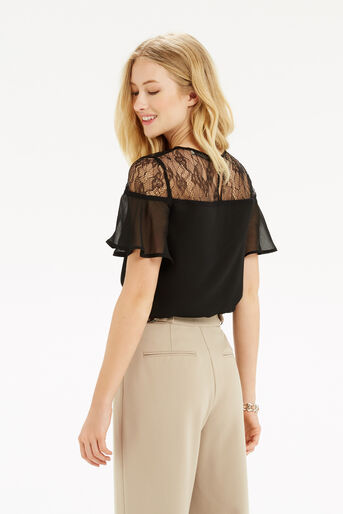 Oasis, Lace Trim Fluted Sleeve Top Black 3