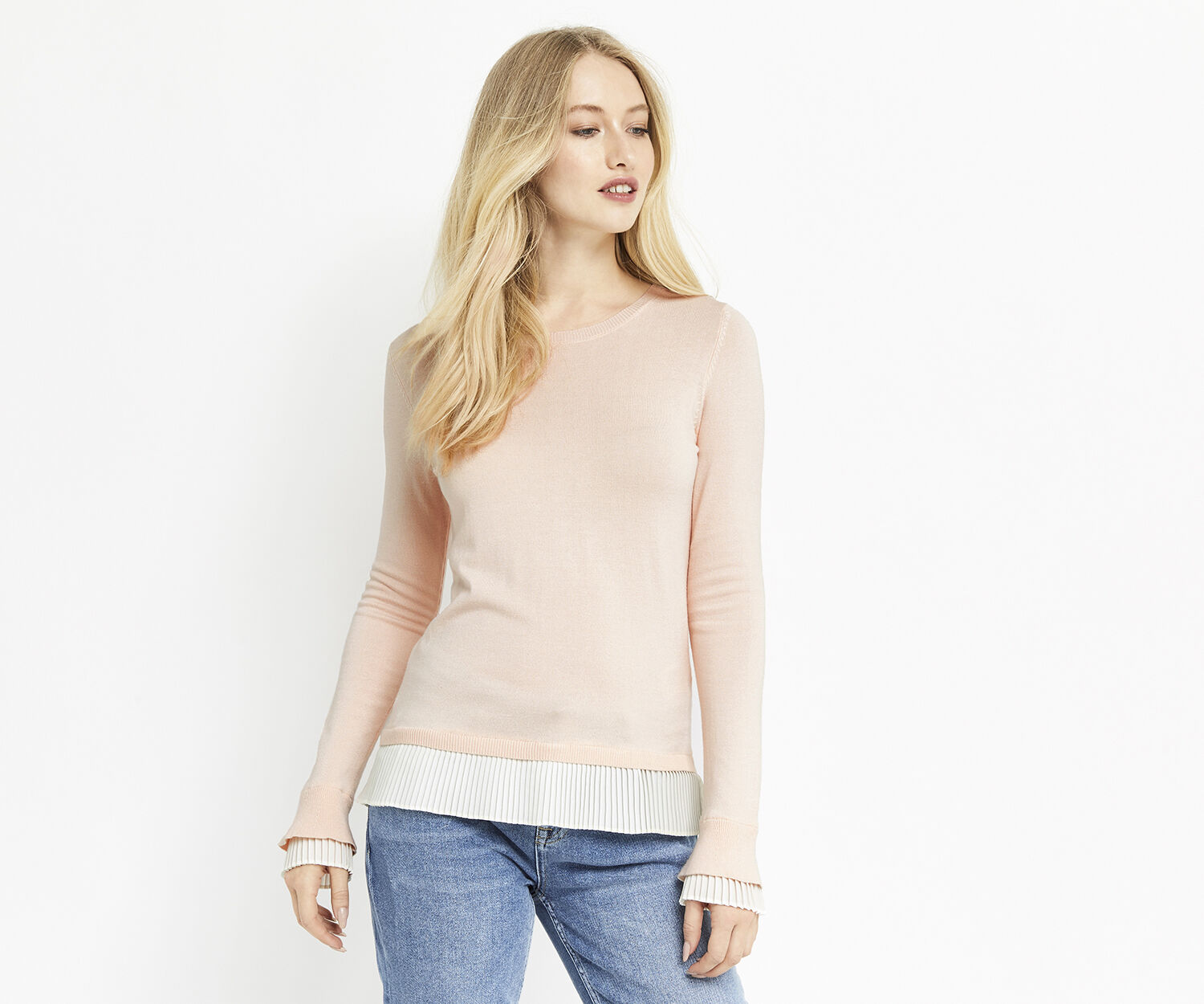 Oasis, PLEATED HEM AND CUFF KNIT Pale Pink 1