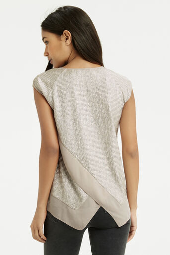 Oasis, Wrap Back Crinkle V T-Shirt Pale Pink 2