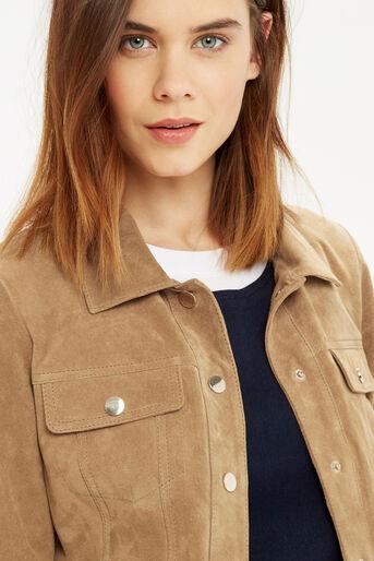 Oasis, Suede Harrington Jacket Tan 4