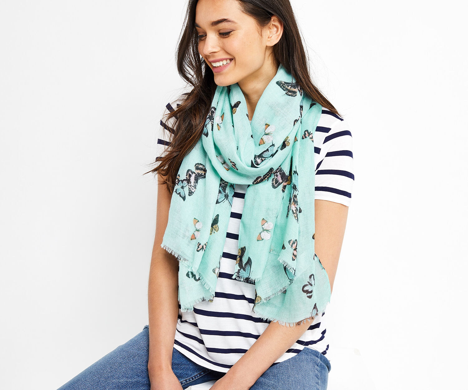 Oasis, BUTTERFLY PRINT SCARF Multi Blue 1