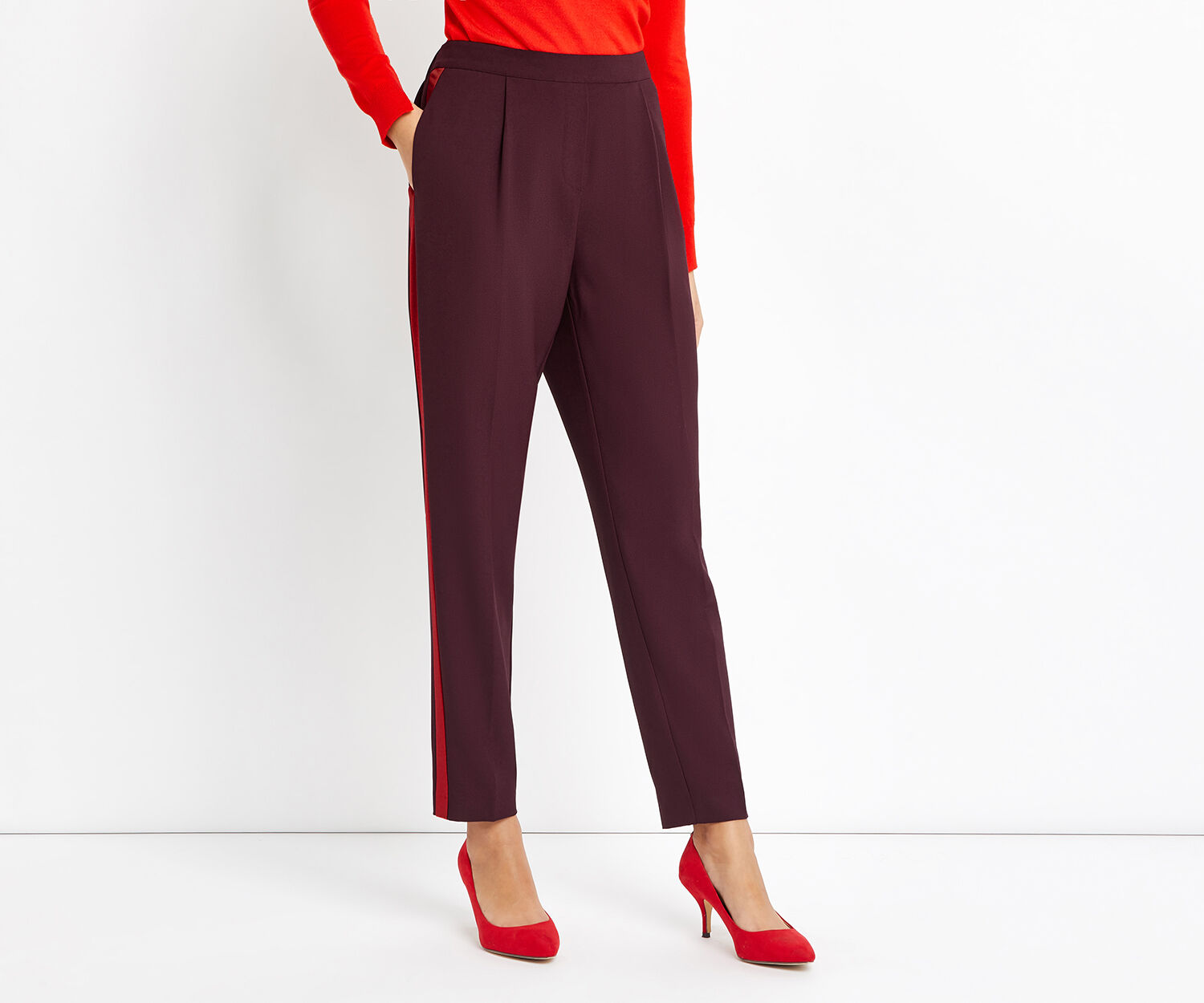 Oasis, SIDE STRIPE TROUSER Burgundy 1