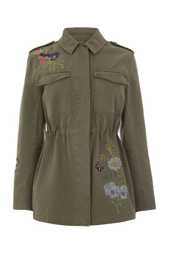 Oasis, EMBROIDERED MILITARY JACKET Khaki 0