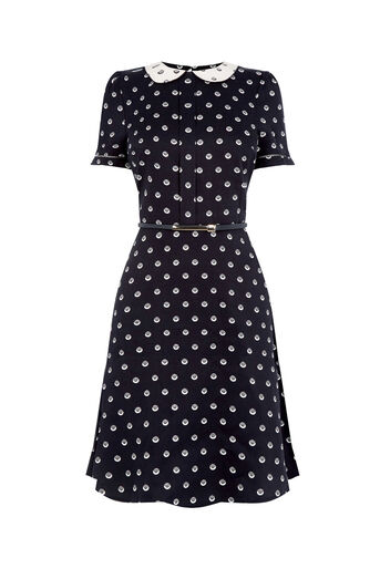 Oasis, LONG SPOTTED TEA DRESS Multi Black 0