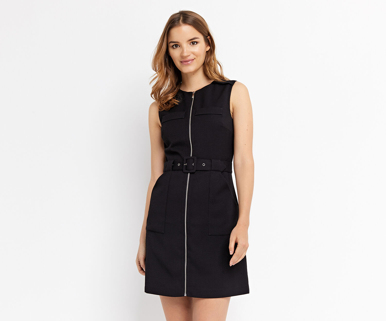 Oasis, TEXTURED ZIP FRONT DRESS Black 1