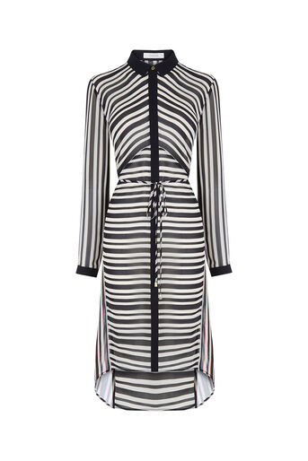 Oasis, Stripe Longline Shirt Multi Black 0
