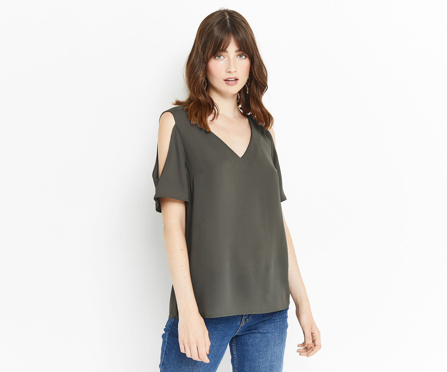 Oasis, COLD SHOULDER FLUTE SLEEVE TOP Khaki 1