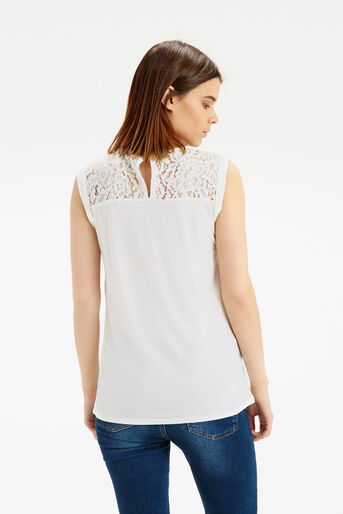 Oasis, Floral Woven Front T-Shirt Off White 3