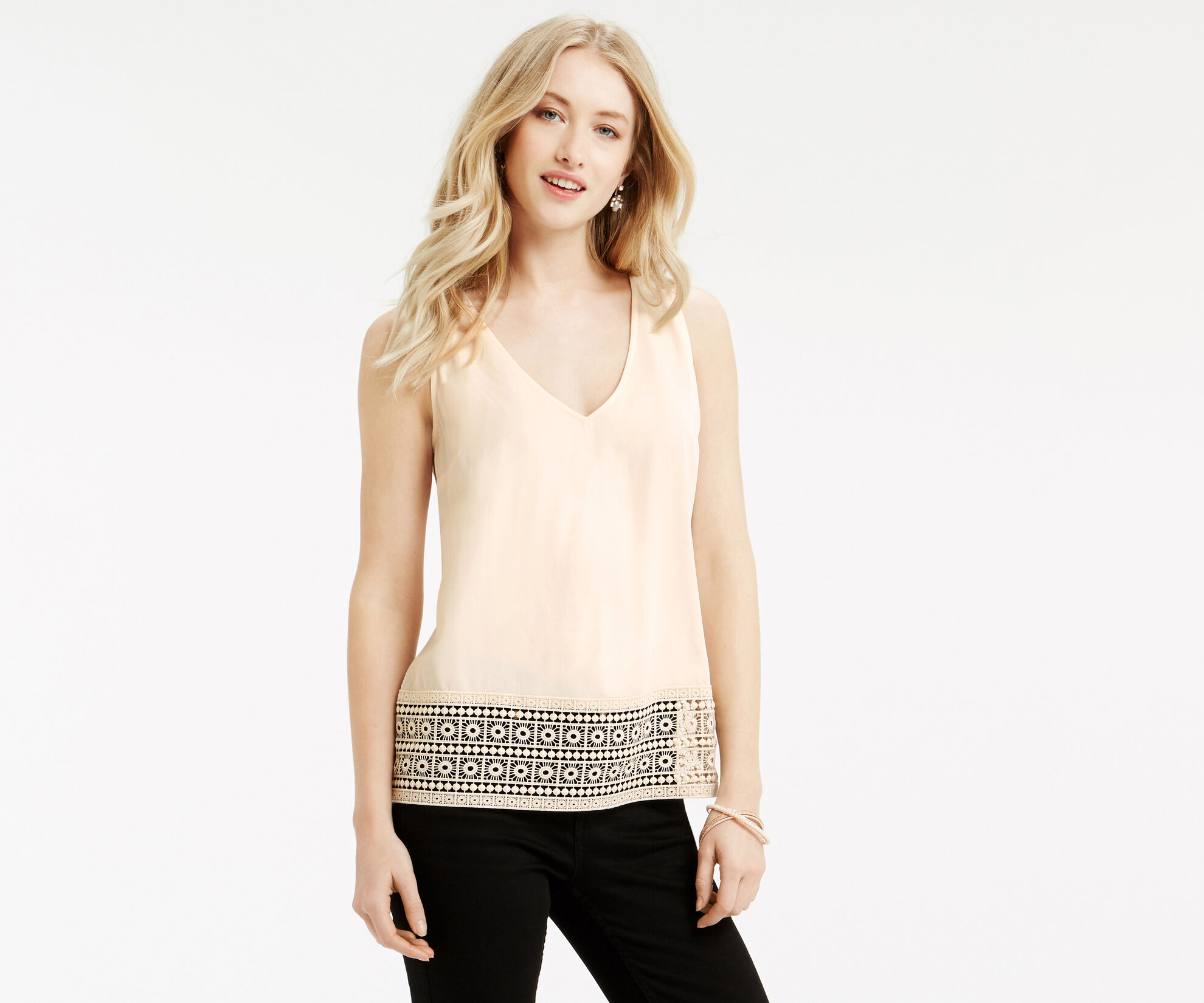 Oasis, Tassle Lace Trim Shell Top Off White 1