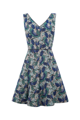 Oasis, ZSL PARROT JACQUARD DRESS Multi 0