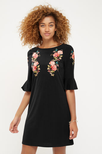 Oasis, EMBROIDERED FLUTE SLEEVE DRESS Multi 1