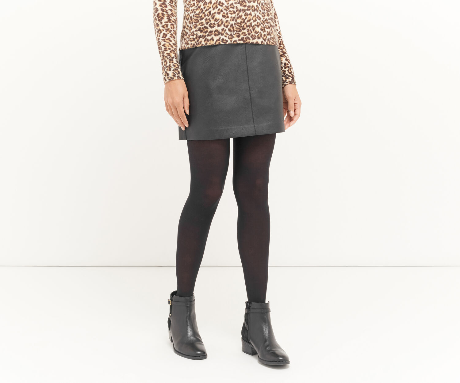 Oasis, FAUX LEATHER MINI SKIRT Black 1