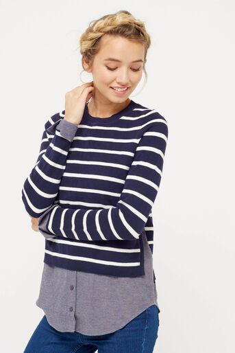 Oasis, stripe shirt tails top Multi Blue 1
