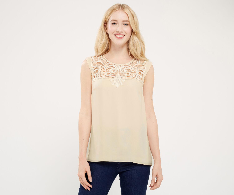 Oasis, T-shirt à empiècement en dentelle drapé dans le dos Blanc cassé 1