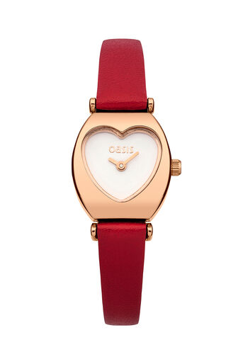 Oasis, Red Strap Heart Dial Watch Mid Red 0